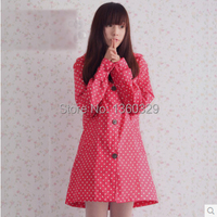 Fashion Burberry Womens Long Raincoats Red White Dots Poncho Waterproof Trench Woman Rain Coats Girls Clothes