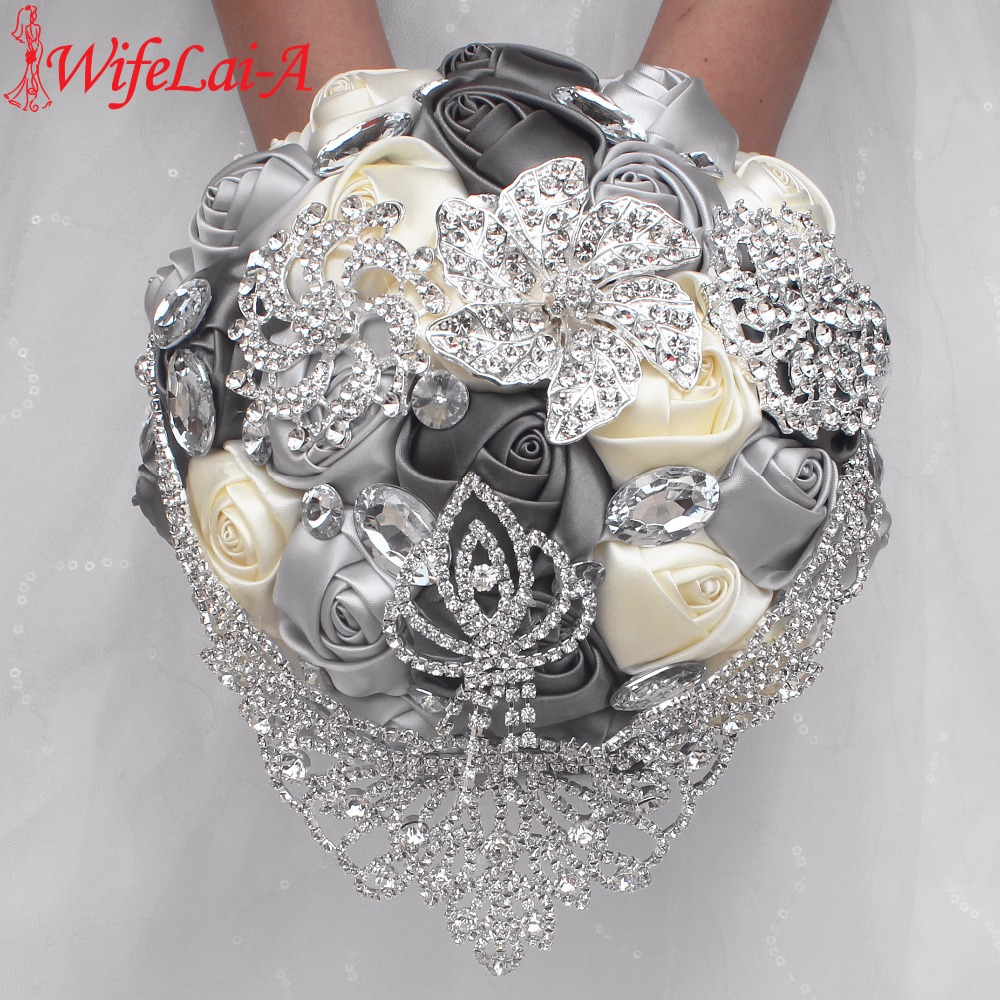 Factory Luxury Rhinestone Bouquet Crown Diamond Tassel Mariage Bridal Bouquet Gray Ivory Silk Wedding Bouquet Accept Custom W288