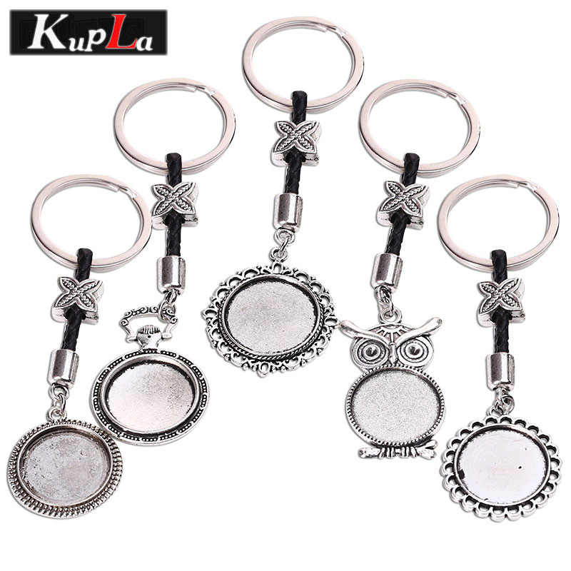 20mm Keychain Round Cabochon Setting DIY Keychain Vintage Silver Handmade Key Chains For Jewelry Making 5pcs/lot KC5084