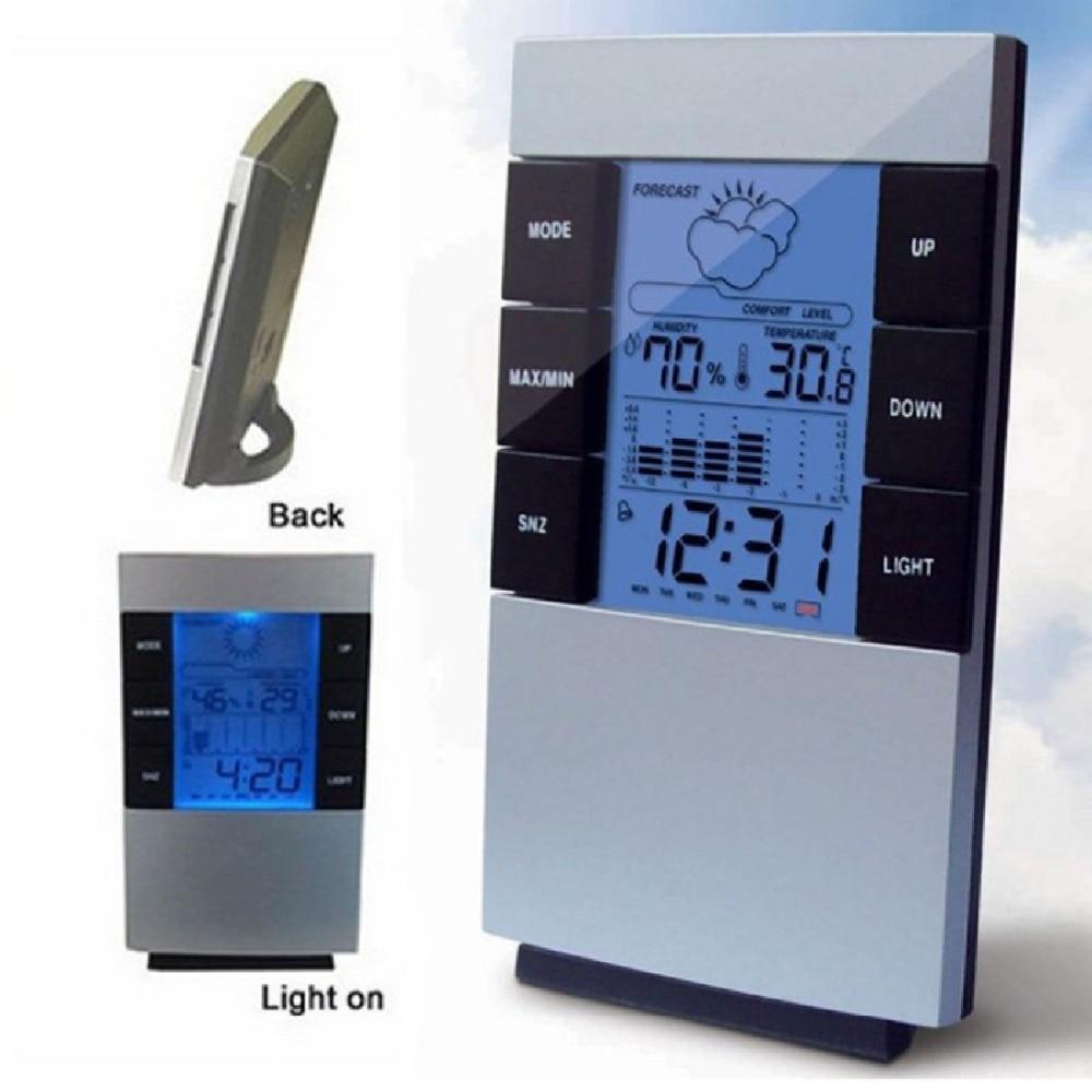 Multifunctional Home Humidity Thermometer LCD Digital Hygrometer Temperature Meter Clock Measurement Device 0-50C/20% -99% RH