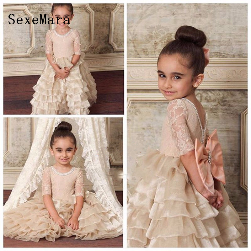Cute champagne Tiered Flower Girl Dress for wedding Floor Length first Birthday dresses for girls Lace up Back with bowCute champagne Tiered Flower Girl Dress for wedding Floor Length first Birthday dresses for girls Lace up Back with bow