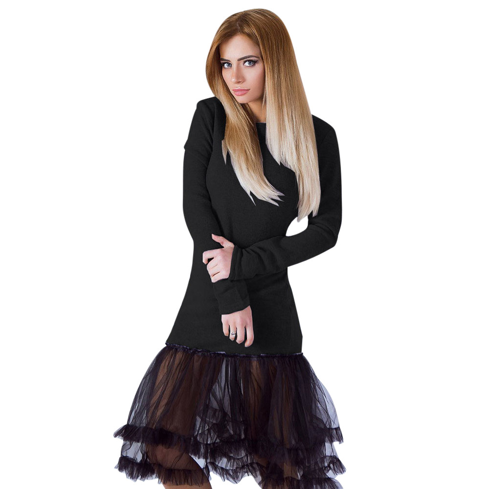 Ladies Dress Knitted Warm Autumn Winter Dress Lace Pacthwork Mermaid Dress Elegant Basic Solid Dress For Women Girls #dD11 velvet thick keep warm winter hat for women rabbit fur knitted beanies ladies female fashion skullies elegant hats for women