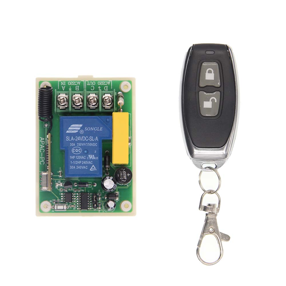 30A 1 CH 1CH Receiver Wireless Relay RF Remote Control Switch Module AC 220V +ON OFF Transmitter,Latched ac 220v 30a 1ch rf wireless remote control switch set 1 receiver 4 transmitter on off fixed code for light lamp sku 5332