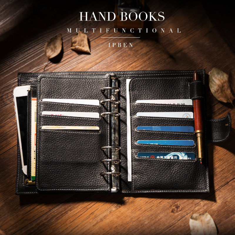 IPBEN 2019 New A6 A7 Personal Pocket Genuine Cow Leather Planner Classic Spiral Notebook Business Handbook Binder Storage Diary