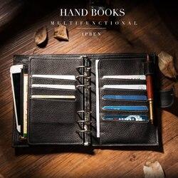 IPBEN 2019 nuevo A6 A7 bolsillo Personal de cuero de vaca genuino planificador clásico espiral cuaderno de negocios manual de almacenamiento diario