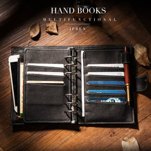 IPBEN 2021 New A6 A7 Personal Pocket Genuine Cow Leather Planner Classic Spiral Notebook Business Handbook Binder Storage Diary