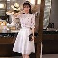2xl primavera verano estilo coreano 2016 2 unidades set sudor juegos de los juegos del verano de las mujeres camisa de gasa de impresión blanco faldas mujer A1019
