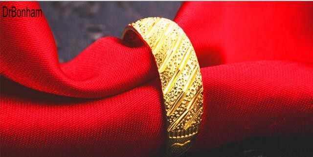 אף פעם לא דוהה צבע זהב 24 K טבעות זהב לנשים גברים סיטונאי תכשיטי חתונה כלה דובאי האתיופית אפריקה ברית