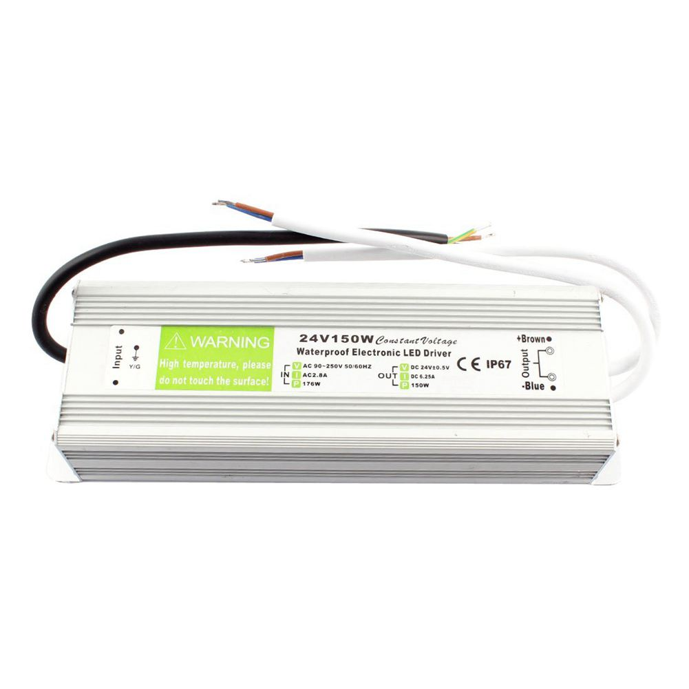 AC 90~250V to DC 24V 150W Transformer IP67 Waterproof LED Driver Power Supply Silver dhl free ship 250w waterproof led power supply ac90 250v to 12v 24v output constant voltage driver 2 year warranty transformer