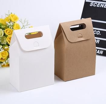 200pcs 10*6*16cm Gift Kraft Box Craft Bag with Handle Soap Candy Bakery Cookie Biscuits Packaging Paper Boxes YA1029