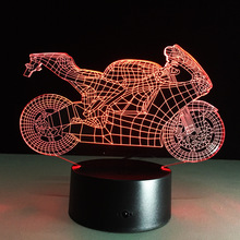Dimmable Art Deco Crystal LED Lamp Sleep Light 3d Motorcycle Table Lamp