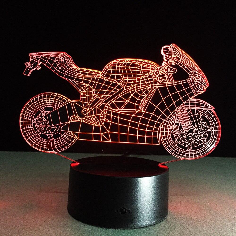 Luzes da Noite quarto luz sono 3d motocicleta Lamp Shade Material : Acrylic