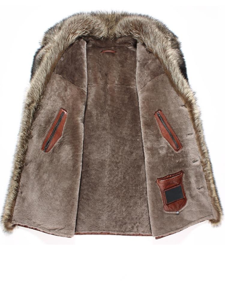 Genuine Leather Jacket Winter Jacket Men Natural Wool Fur Liner Sheepskin Coat for Men Raccoon Fur Collar Warm Jackets 4xl Y1715