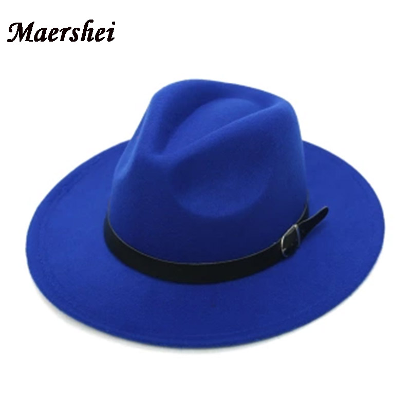 c5e37c86 MAERSHEI Fedora Hat Unisex Wide Brim Sombreros Jazz Church Cap Panama  Fedora Top Hat Women Men Black Fall Winter Hat-in Men's Fedoras from  Apparel ...