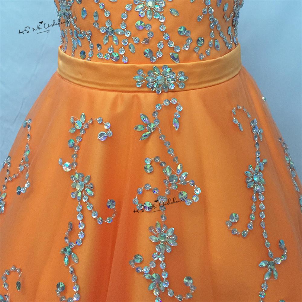 Vestido de Daminha Sweet Orange Ball Gown Pageant Dresses for Little Girls Bridesmaid Dress 2017 First Communion Dresses Beaded - 5