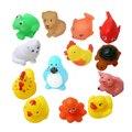 13 pcs mista animais soft rubber duck float squeaky som squeeze play toy para o bebê natação banho brinquedos piscina inflável