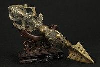 Ładne chiński stary brąz kolekcjonerska HANDWORK rzeźbione słoń boga statua AMULET w Posągi i rzeźby od Dom i ogród na