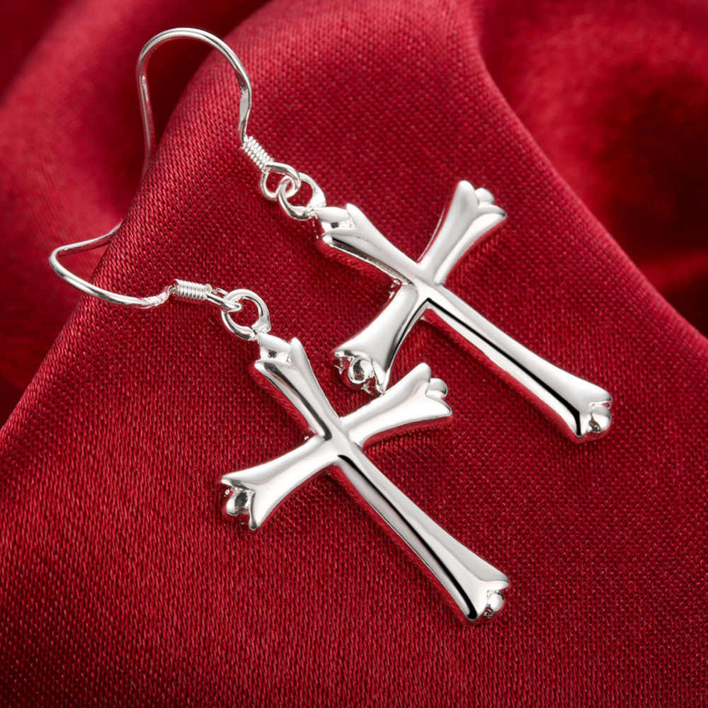Fabrik preis! Einfache glatte kreuz anhänger gestempelt 925 Silber Schmuck Baumeln Ohrringe für Frauen lange haken Ohrring Geschenk Klassische