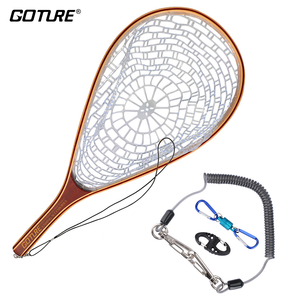 Goture Fly Fishing Net Casting Network Rubber Mesh Wooden Frame Hand Net with Lanyard Rope Magnetic Buckle Fishing Tackle