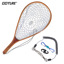 Network Rubber Fly-Fishing-Net Goture Mesh Casting with Lanyard-Rope Magnetic-Buckle