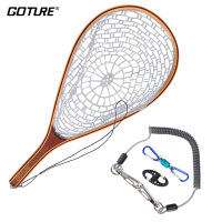 Goture Fly Fishing Net Casting Network Rubber Mesh Wooden Frame Hand Net With Lanyard Rope Magnetic