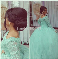 2019 New Sexy Long Sleeves Mint Green Quinceanera Dresses Ball Gowns with Tulle Appliques Sweet 15 Dresses Vestidos De 15