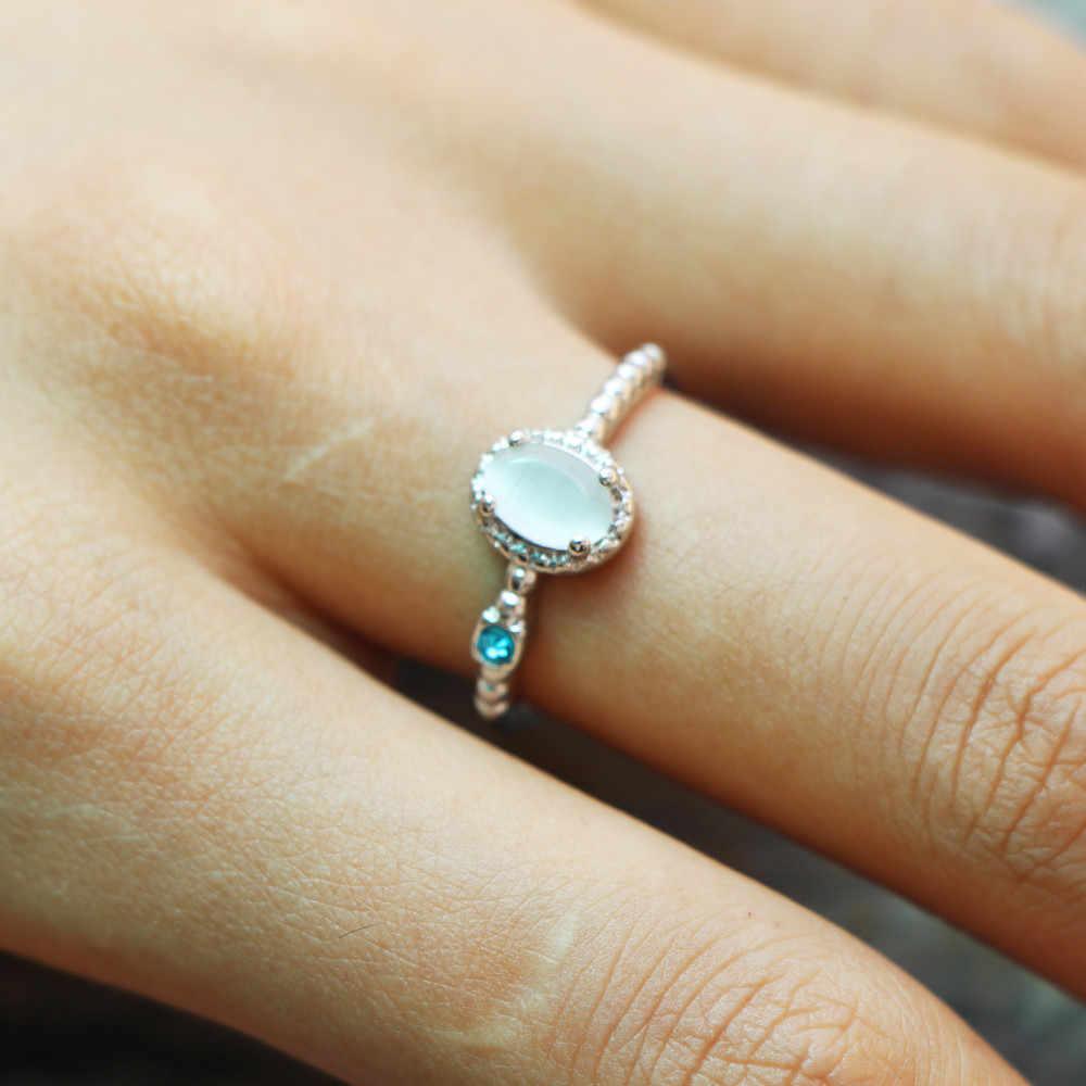 2019 Baru Elegan Putih Opal Cincin Fashion CZ Pernikahan Perhiasan Mawar Emas Perak Diisi Pertunangan Janji Cincin untuk Wanita Anillos