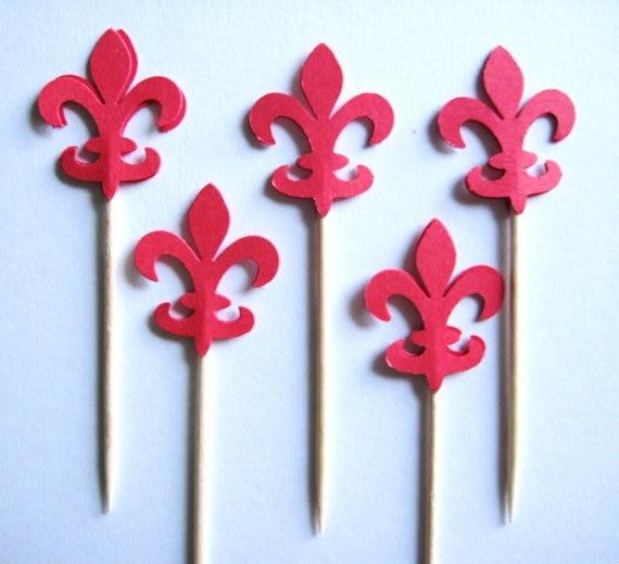Rode Fleur De Lis Voedsel Picks Party Cupcake Toppers Voedsel Picks