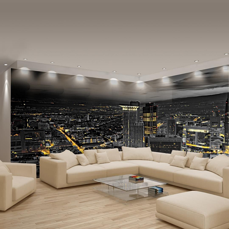 personalized custom large wall mural photo wallpaper non woven panoramic big corner night city. Black Bedroom Furniture Sets. Home Design Ideas