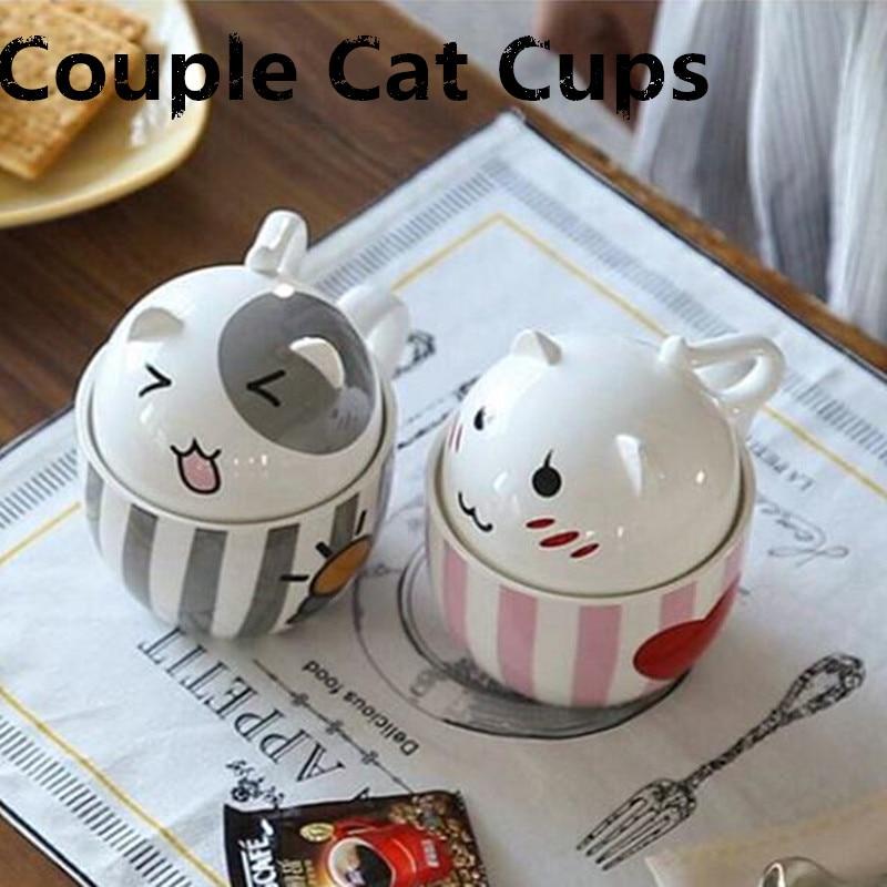 New Cartoon Ceramic Mug Coffee Tea Mugs 350ml Cute Cat Cups Lovely Mug with Lid Bottle Drinkware Couples Cups Creative Gift