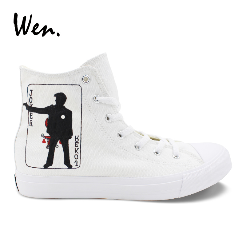 Wen Design White Hand Painted Skateboard Shoes Joker Poker High Top Unisex Canvas Shoes  ...