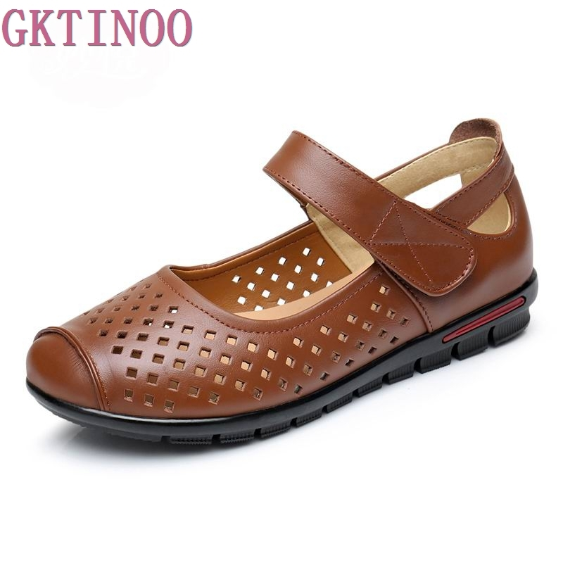Spring And Summer 2018 Fashion Women Loafers Cutout Woman Genuine Leather Soft Casual Flat Shoes Women Flats cresfimix zapatos women cute flat shoes lady spring and summer pu leather flats female casual soft comfortable slip on shoes
