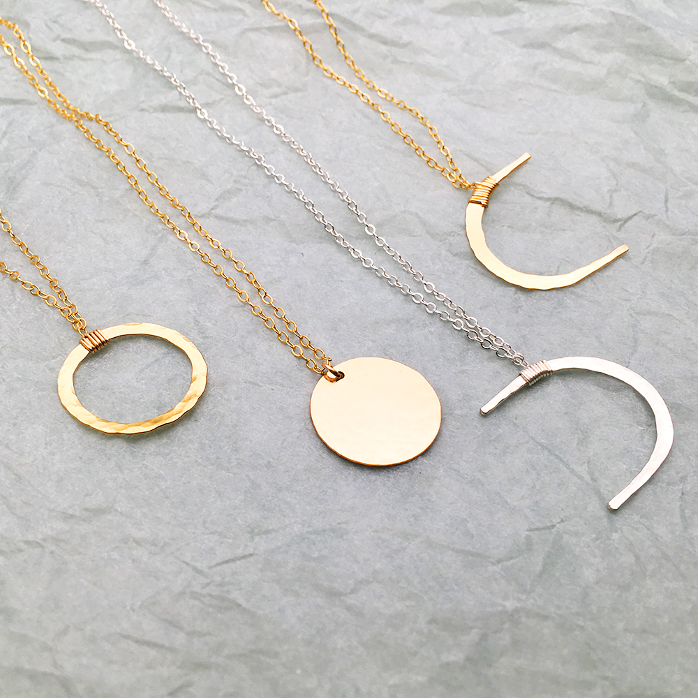 6618c43f5b2 Dainty Moon Phase Necklaces Handmade Jewelry Hammered Gold Filled Choker  Custom Simple Pendants Collier Femme Kolye Collares