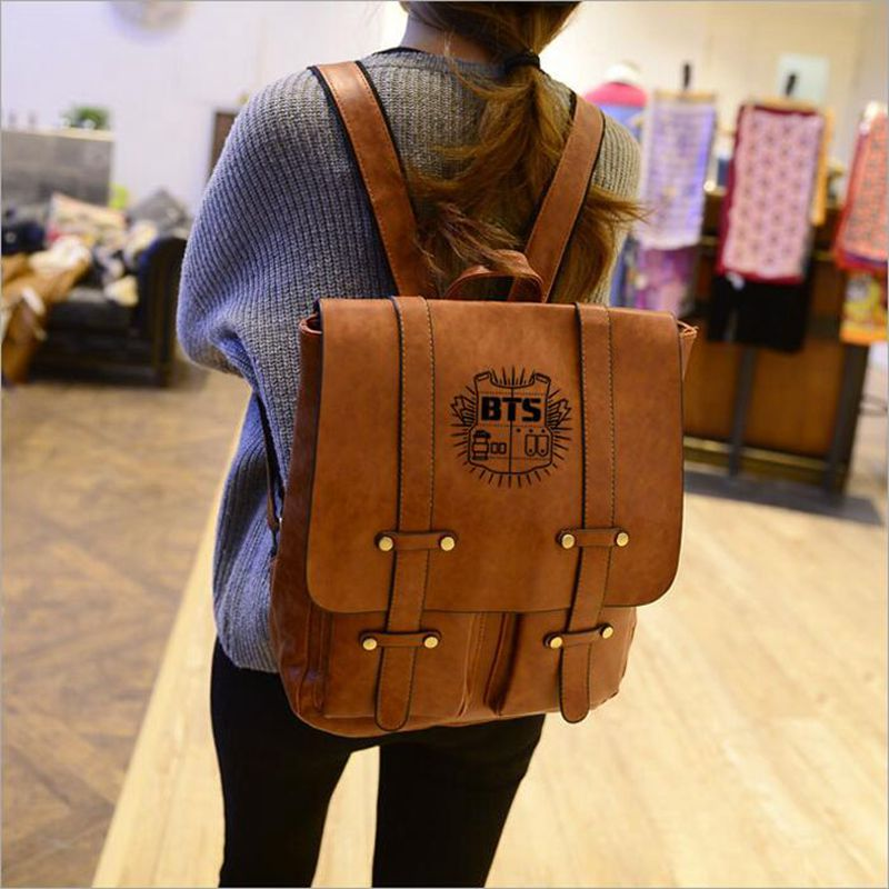 Korean Design PU Leather Backpack Women Backpacks For Teenage Girls School Bags BTS Vintage Men preppy Backpack Mochilas Mujer retro rivet backpacks 2017 hip hop pu leather men s backpacks vintage punk skull women teenage backpacks bolsas mochilas