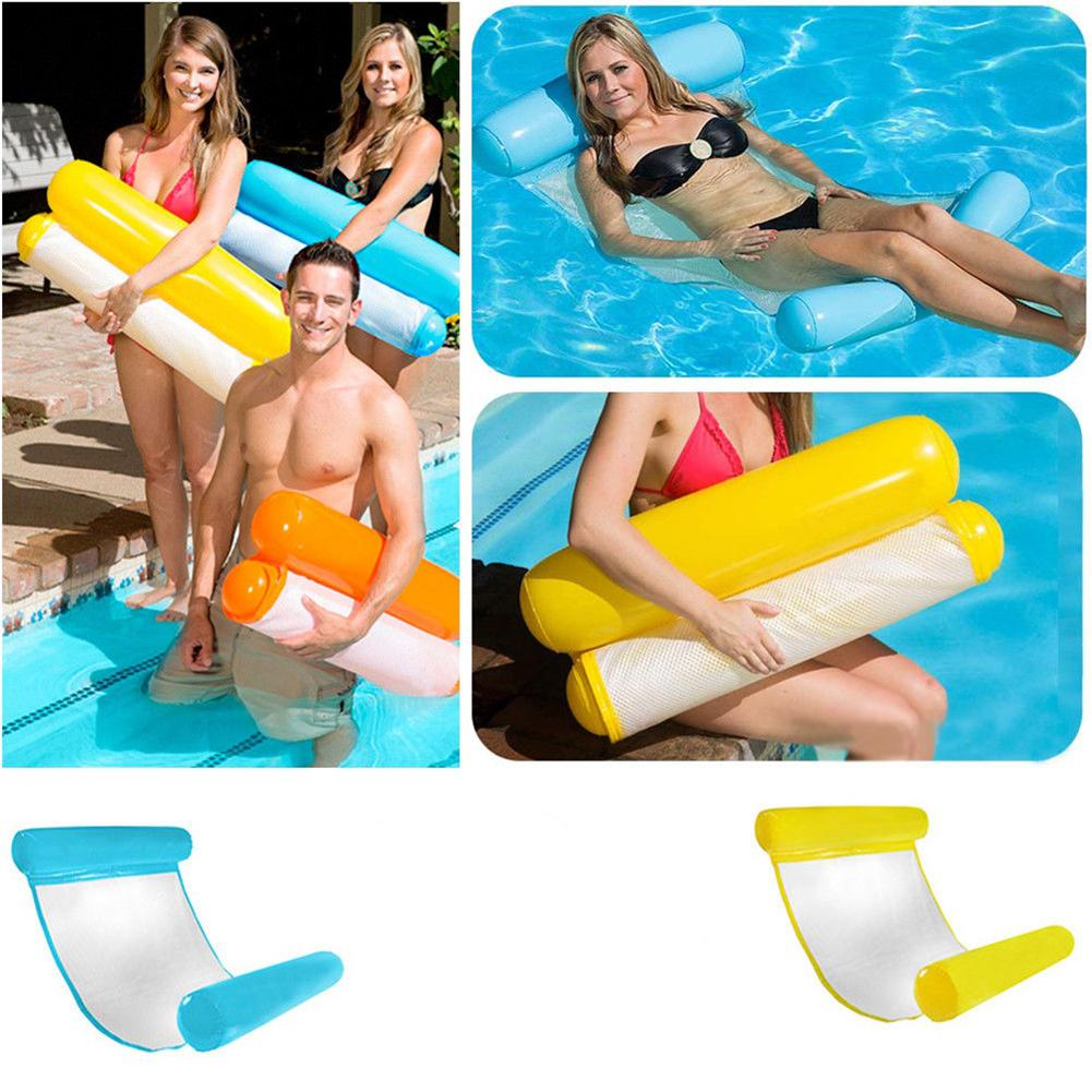 None  1PCS Pool Floating Chair Float Water Swimming Pool SeatsInflatable Hammock Pool Lounge Bed Chair Multiple Colour
