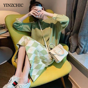 Image 3 - New Woman Winter Knitted Suits Hoody Sweater A line Skirt Set for Woman Female Casual Two pieces Sets