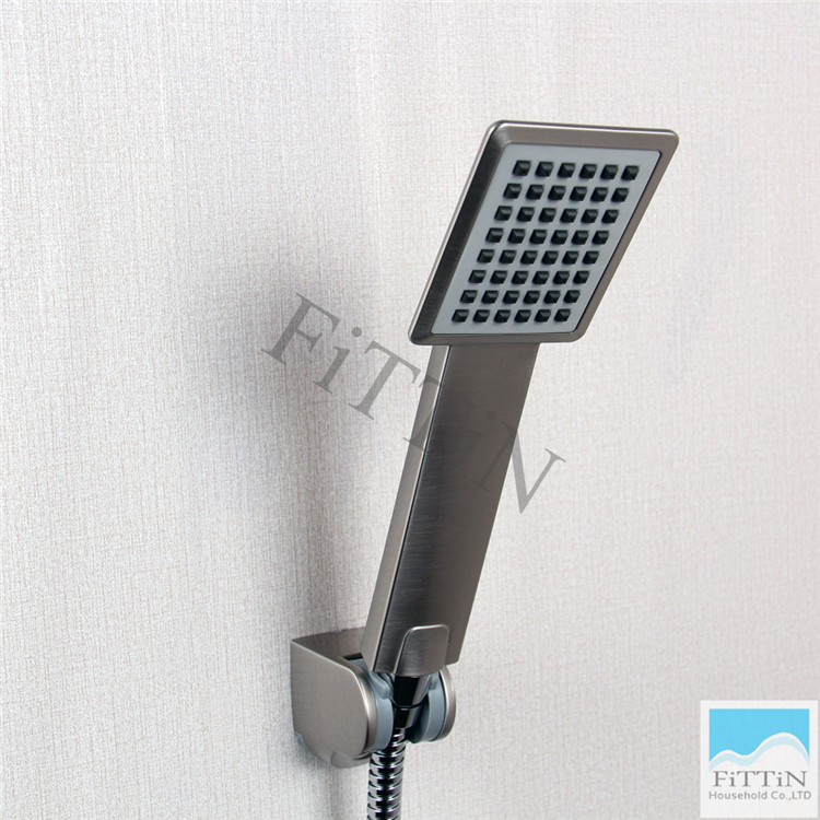 Wholesale   High Quality New Bathroom Brushed Nickel ABS Single Funtion  Setting Square Hand Held Shower ...