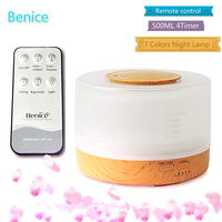 500ml Remote Control Aroma Essential Oil Diffuser Ultrasonic Air Humidifier With 4 Timer Settings 7 Colors