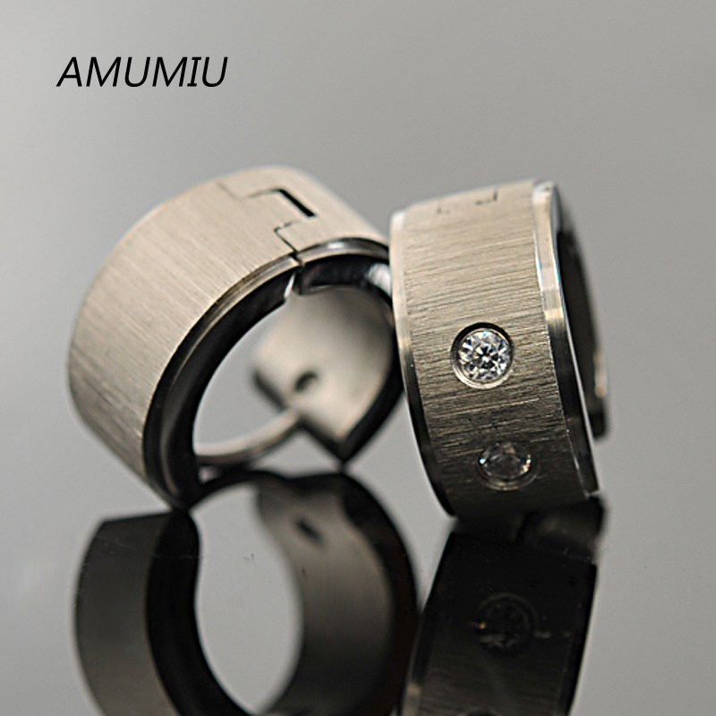 AMUMIU 316l Stainless Steel Dull Polished Rhinestone Mens Earring For Rock, PUNK,Wholesale Free shipping,HZE018