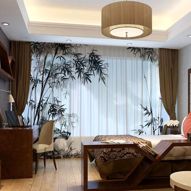 Semi shade Translucent Windows and French Windows Yarn Sheer Bamboo Pattern Tulle Curtains Custom forLiving Room