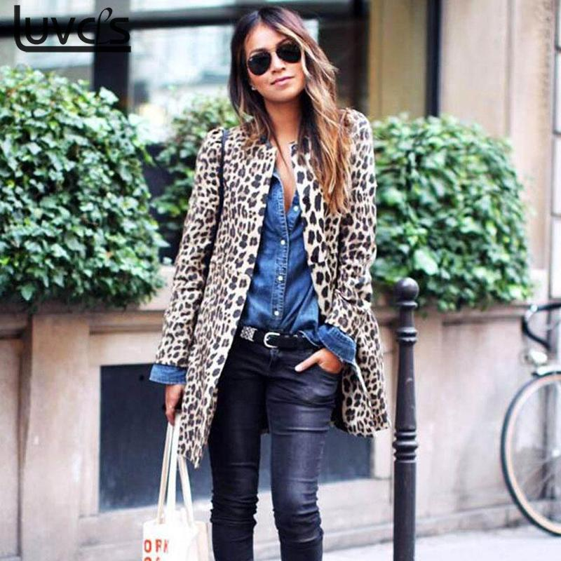 S-5XL Fashion Leopard   Trench   Coat For Women Autumn Winter Leopard Print Women's Coat Cardigan Long   Trench   Coat For Women