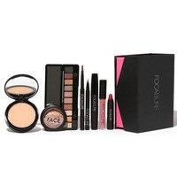 8 pçs/set focallure terno maquiagem essencial para iniciantes sobrancelhas caneta + sombra + pó + lip + delineador + rímel + blush + lip gloss top
