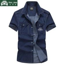 Summer Brand Clothing 2018 Casual Short Sleeves Cotton Denim Shirt Men