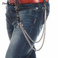 Men Classic Silver Metal 2 Strands Wallet Chains Skull Leather Keychain Spike Biker Hip Hop Jeans Chain /160g KB63