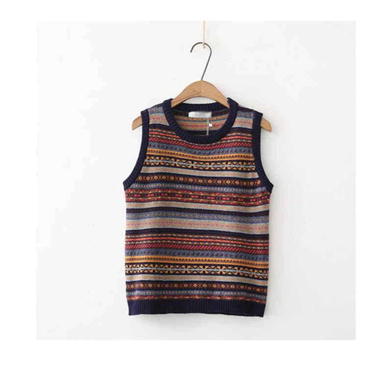 2019 봄 가을 새로운 여성 짧은 국가 스타일 스웨터 조끼 o-넥 플러스 크기 스트라이프 민소매 풀 오버 니트 여성 lq754