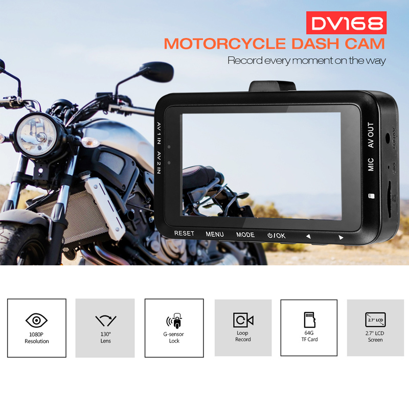 Zeepin DV168 1080P Dash Cam 2.7-inch 130 degree Dual Camera Motorcycle Driving Video Recorder with Front and Rear View Camera кабель dv карта памяти minisd где в калининграде