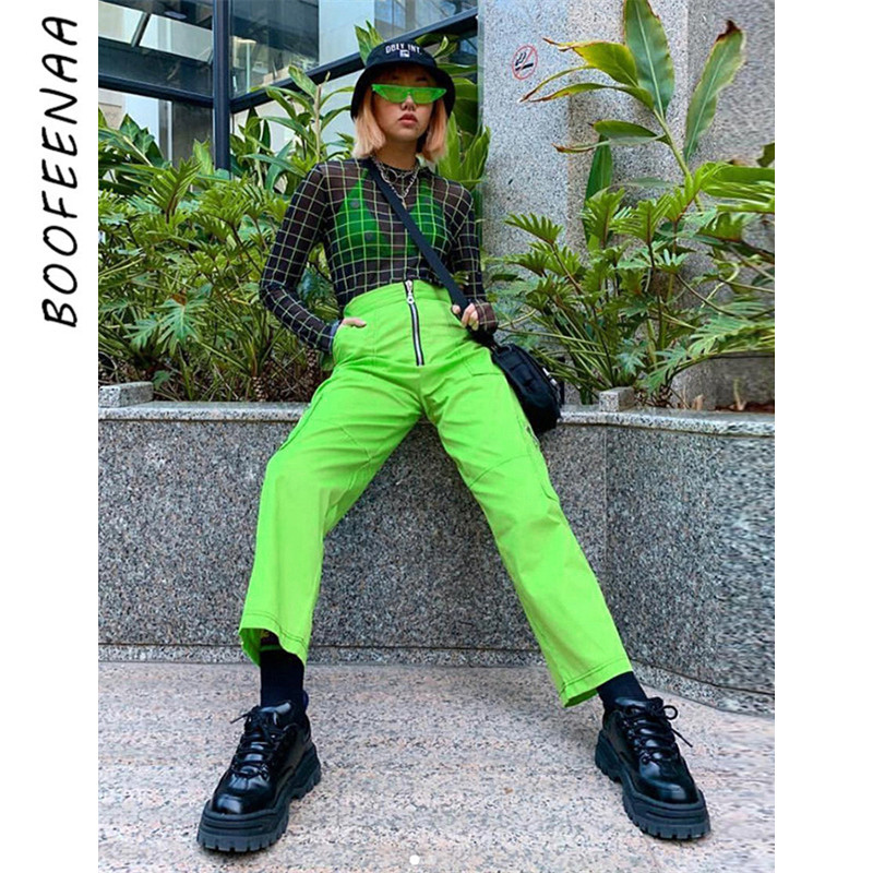 BOOFEENAA Zipper Pockets Neon Green Wide Leg Cargo   Pants   Women Harajuku   Capri   High Waist Sweatpants Streetwear Trousers C87-AE77