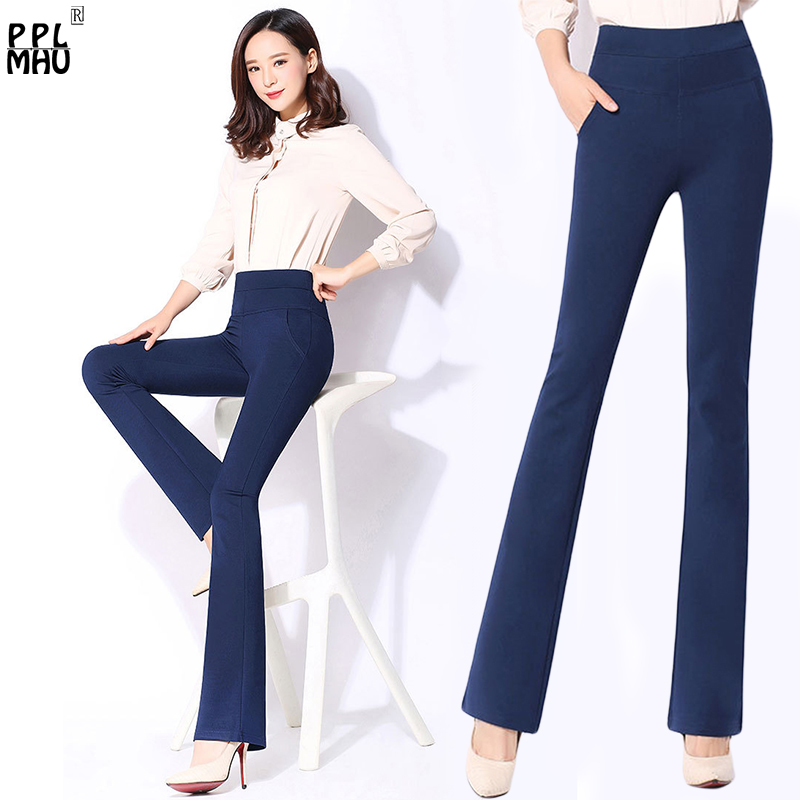 Office Flare Trousers Women 2019 Spring Casual High Waist Stretch Bell Bottom Pants Black Plus Size S-4XL Elastic Flared Pants