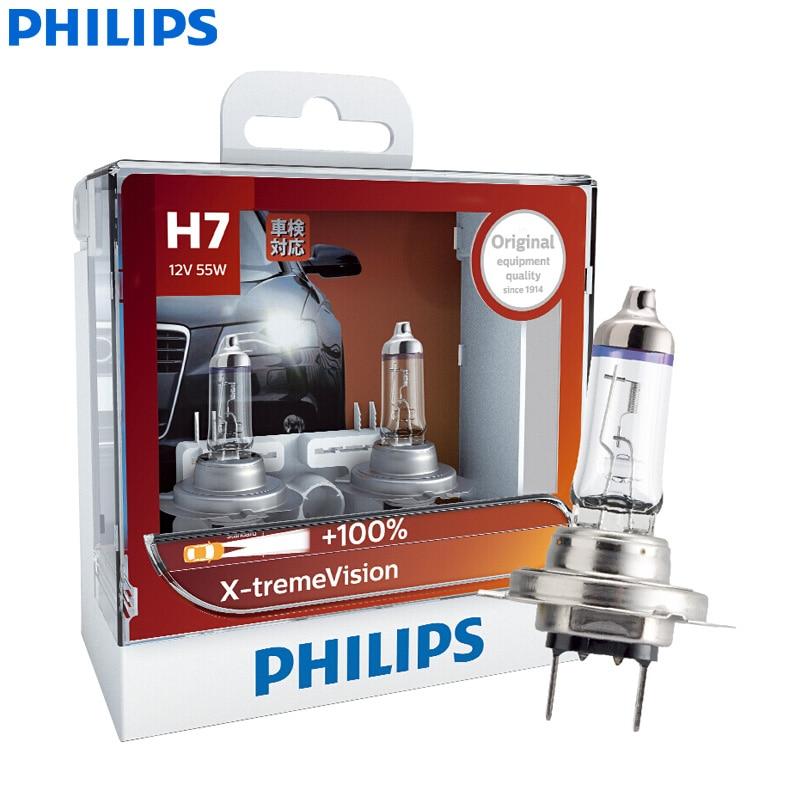 Philips X-treme Vision H7 12V 55W PX26d 12972XVS2 +100% More Vision Light Car Original Halogen Headlight Auto Bulbs (Twin Pack)