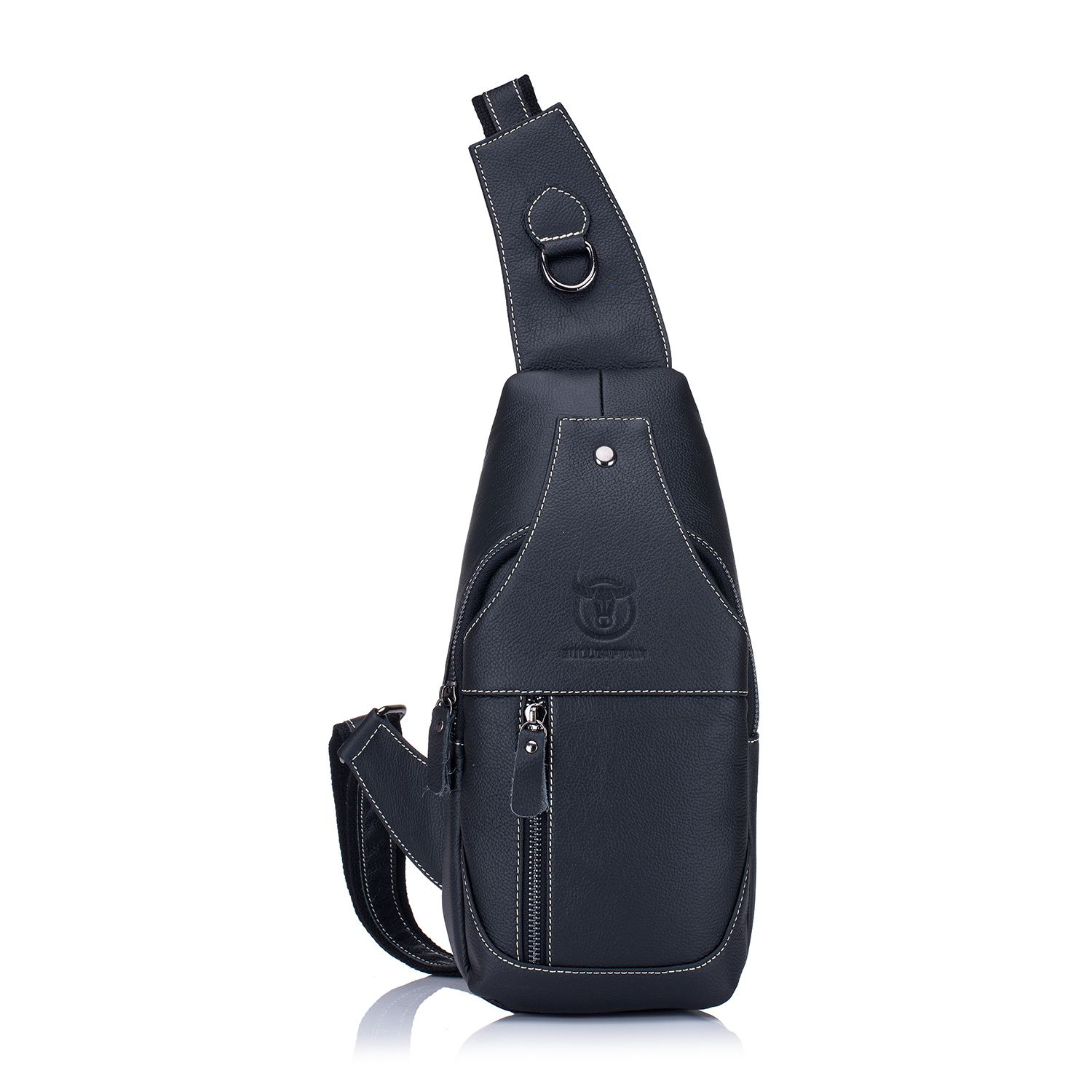 Men's Sling Bag Genuine Leather Chest Shoulder Backpack Cross Body Purse Water Resistant Anti Theft For Travel School j m d genuine leather men s shoulder messenger travel bag bucket jmd cross body purse for school backpack hand bags 2003